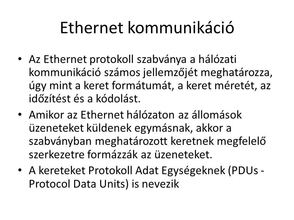Ethernet kommunikáció Az Ethernet protokoll szabványa a hálózati kommunikáció számos jellemzőjét meghatározza, úgy mint a keret formátumát, a keret méretét, az időzítést és a kódolást.