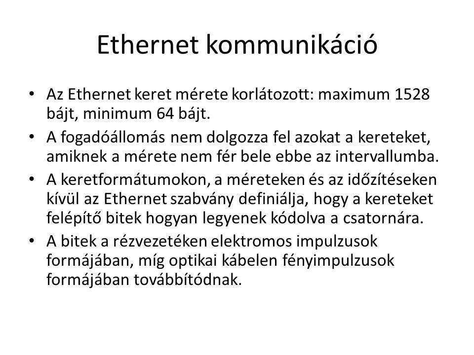 Ethernet kommunikáció Az Ethernet keret mérete korlátozott: maximum 1528 bájt, minimum 64 bájt.