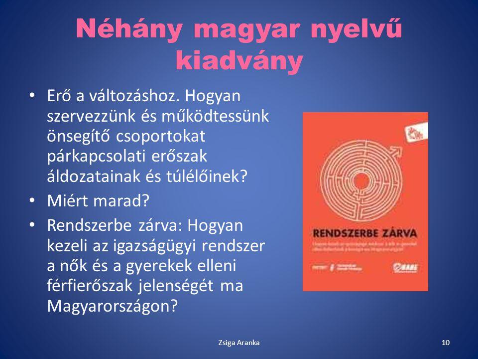 Néhány magyar nyelvű kiadvány Erő a változáshoz. Hogyan szervezzünk és működtessünk önsegítő csoportokat párkapcsolati erőszak áldozatainak és túlélői