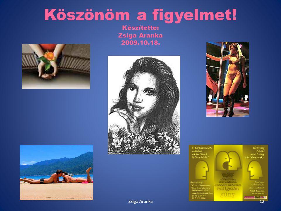 Köszönöm a figyelmet! Készítette: Zsiga Aranka 2009.10.18. 12Zsiga Aranka