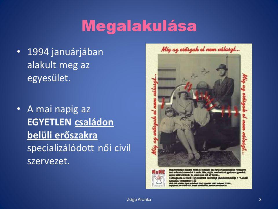 Megalakulása 1994 januárjában alakult meg az egyesület. A mai napig az EGYETLEN családon belüli erőszakra specializálódott női civil szervezet. 2Zsiga