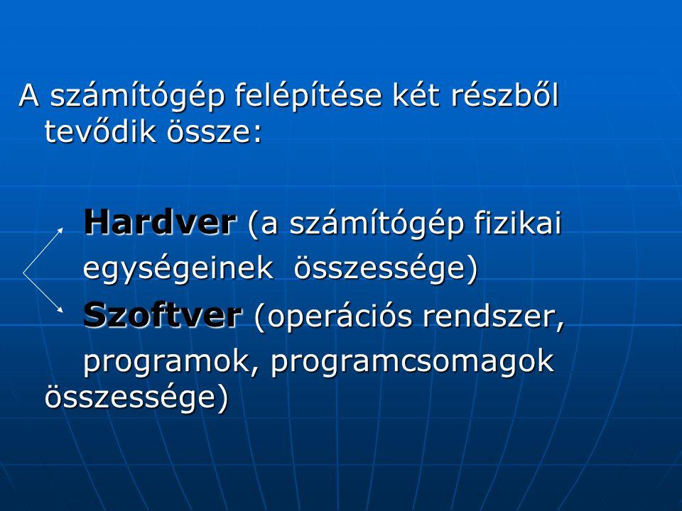 A számítógép felépítése két részből tevődik össze: Hardver (a számítógép fizikai Hardver (a számítógép fizikai egységeinek összessége) egységeinek összessége) Szoftver (operációs rendszer, Szoftver (operációs rendszer, programok, programcsomagok összessége) programok, programcsomagok összessége)