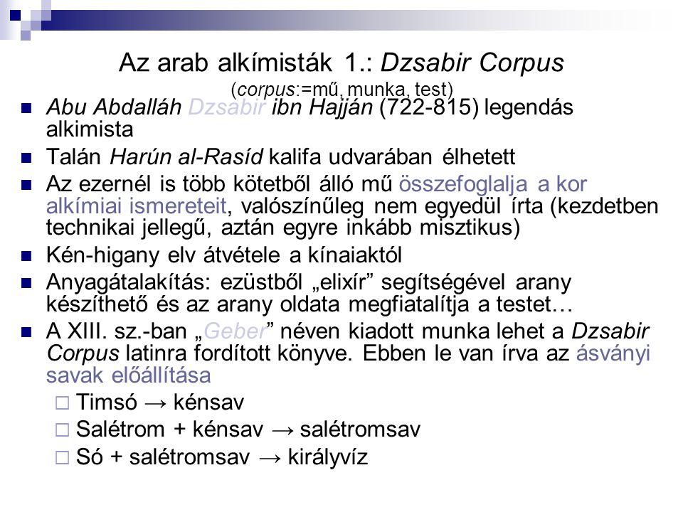 Az arab alkímisták 1.: Dzsabir Corpus (corpus:=mű, munka, test) Abu Abdalláh Dzsabir ibn Hajján (722-815) legendás alkimista Talán Harún al-Rasíd kali