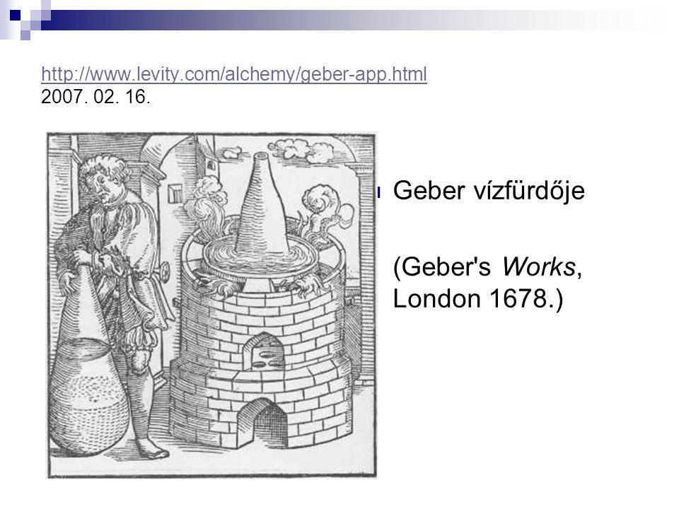 http://www.levity.com/alchemy/geber-app.html http://www.levity.com/alchemy/geber-app.html 2007. 02. 16. Geber vízfürdője (Geber's Works, London 1678.)