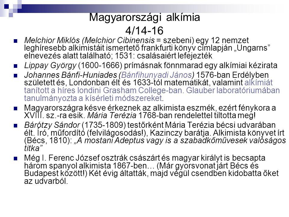 Magyarországi alkímia 4/14-16 Melchior Miklós (Melchior Cibinensis = szebeni) egy 12 nemzet leghíresebb alkimistáit ismertető frankfurti könyv címlapj