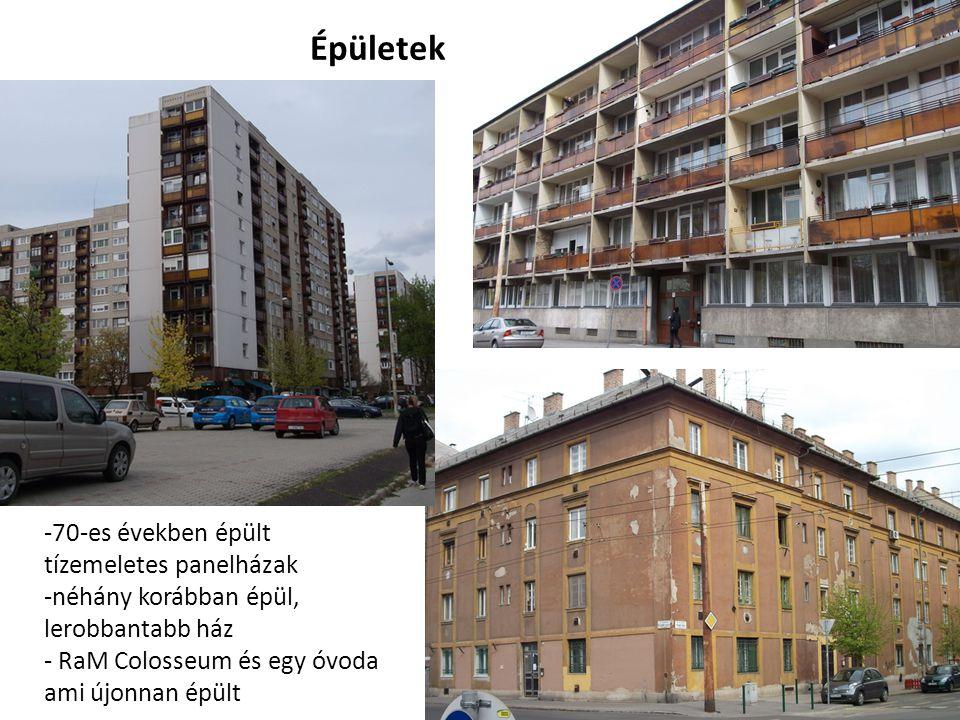Épületek -70-es években épült tízemeletes panelházak -néhány korábban épül, lerobbantabb ház - RaM Colosseum és egy óvoda ami újonnan épült