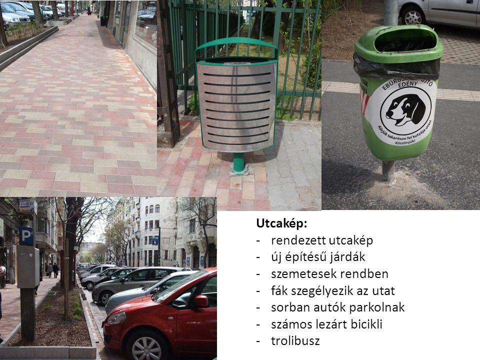 Utcakép: -rendezett utcakép -új építésű járdák -szemetesek rendben -fák szegélyezik az utat -sorban autók parkolnak -számos lezárt bicikli -trolibusz