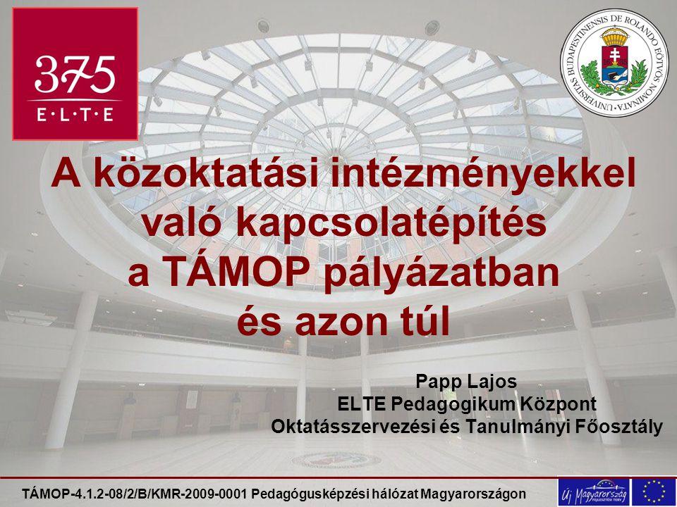 TÁMOP-4.1.2-08/2/B/KMR-2009-0001 Pedagógusképzési hálózat Magyarországon A közoktatási intézményekkel való kapcsolatépítés a TÁMOP pályázatban és azon túl Papp Lajos ELTE Pedagogikum Központ Oktatásszervezési és Tanulmányi Főosztály