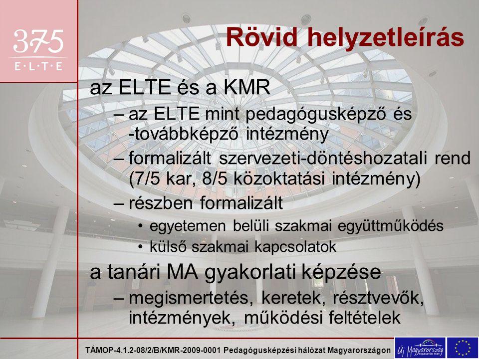 TÁMOP-4.1.2-08/2/B/KMR-2009-0001 Pedagógusképzési hálózat Magyarországon Partnerek az ELTE intézményei –pedagógusképző karok: PPK, BGGYK, TÓK –a pedagógusképzésben részt vevő karok: BTK, IK, TTK –közoktatási intézmények –a KMR közismereti pedagógusképzést folytató felsőoktatási intézményei: PPKE, KRE, EHE, SZIE, AVKF, SSZHF, MPANNI a BME mint a szakmai és művészeti tanárképzést folytató felsőoktatási intézmények pályázati konzorciumának vezetője a régió közoktatási intézményei a régió közoktatási szolgáltató intézményei