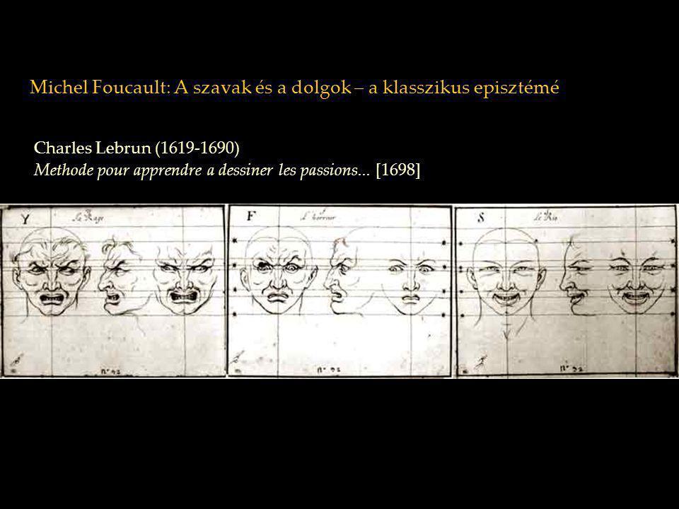 Michel Foucault: A szavak és a dolgok – a klasszikus episztémé Charles Lebrun (1619-1690) Methode pour apprendre a dessiner les passions... [1698]