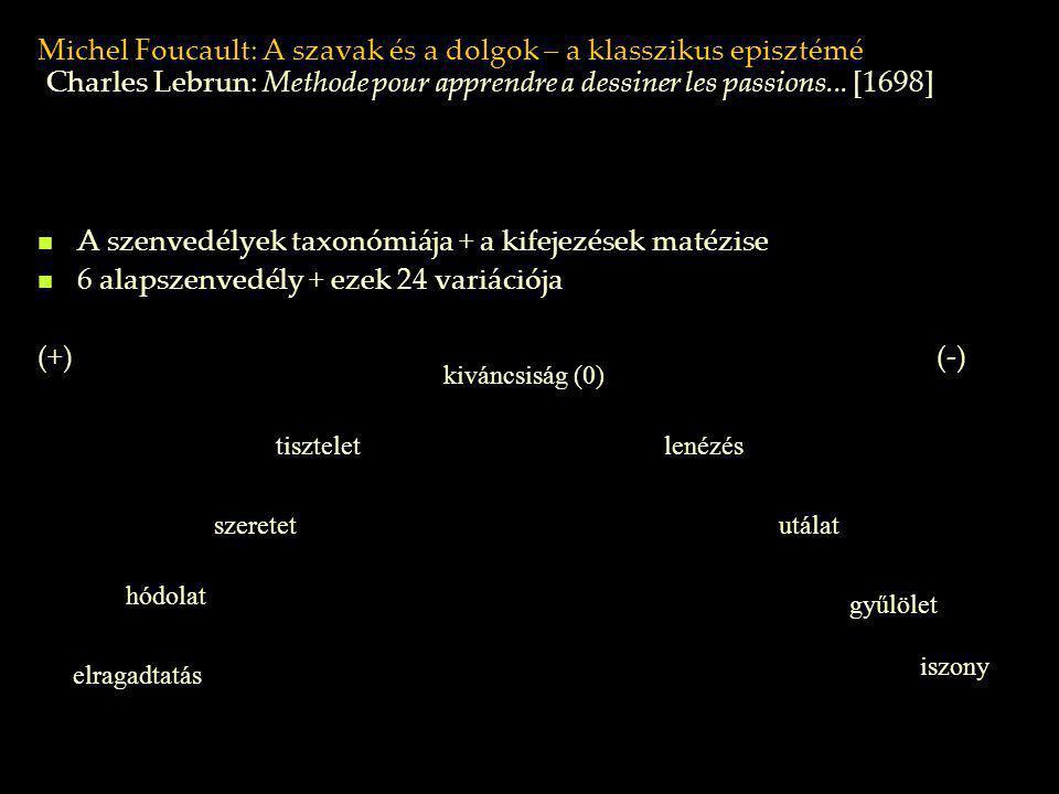 Michel Foucault: A szavak és a dolgok – a klasszikus episztémé A szenvedélyek taxonómiája + a kifejezések matézise 6 alapszenvedély + ezek 24 variáció