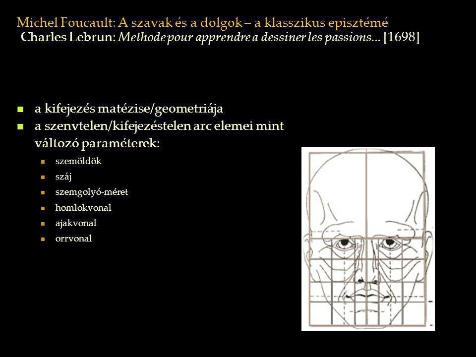 Michel Foucault: A szavak és a dolgok – a klasszikus episztémé a kifejezés matézise/geometriája a szenvtelen/kifejezéstelen arc elemei mint változó pa