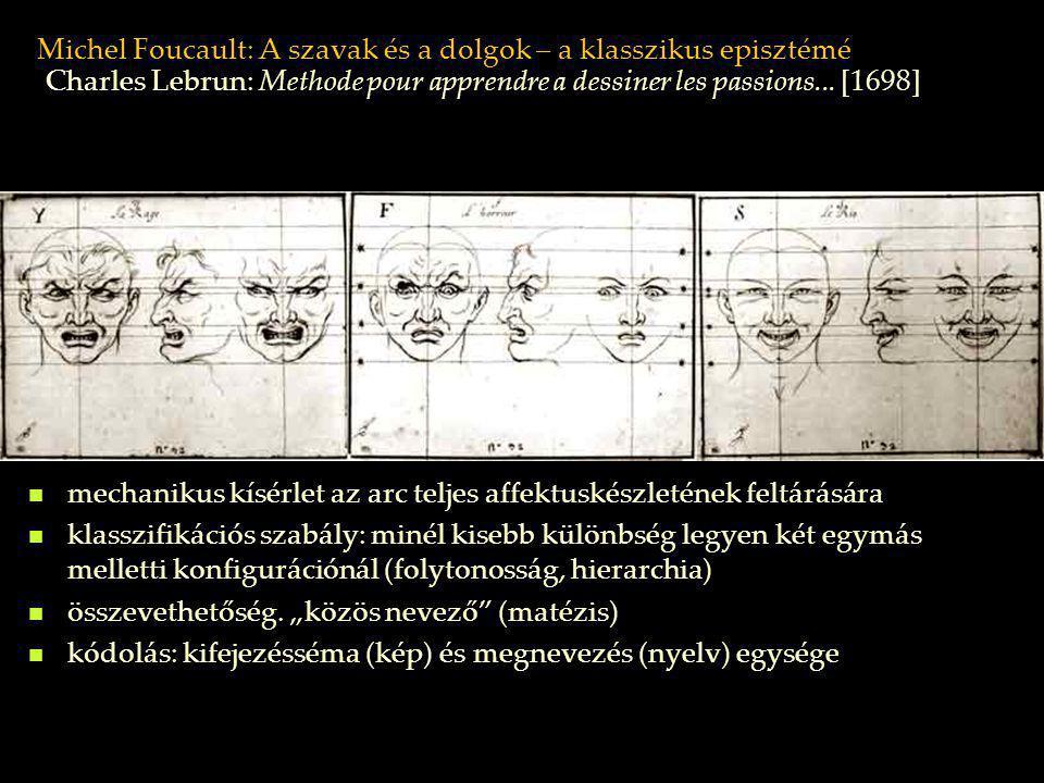 Michel Foucault: A szavak és a dolgok – a klasszikus episztémé mechanikus kísérlet az arc teljes affektuskészletének feltárására klasszifikációs szabá