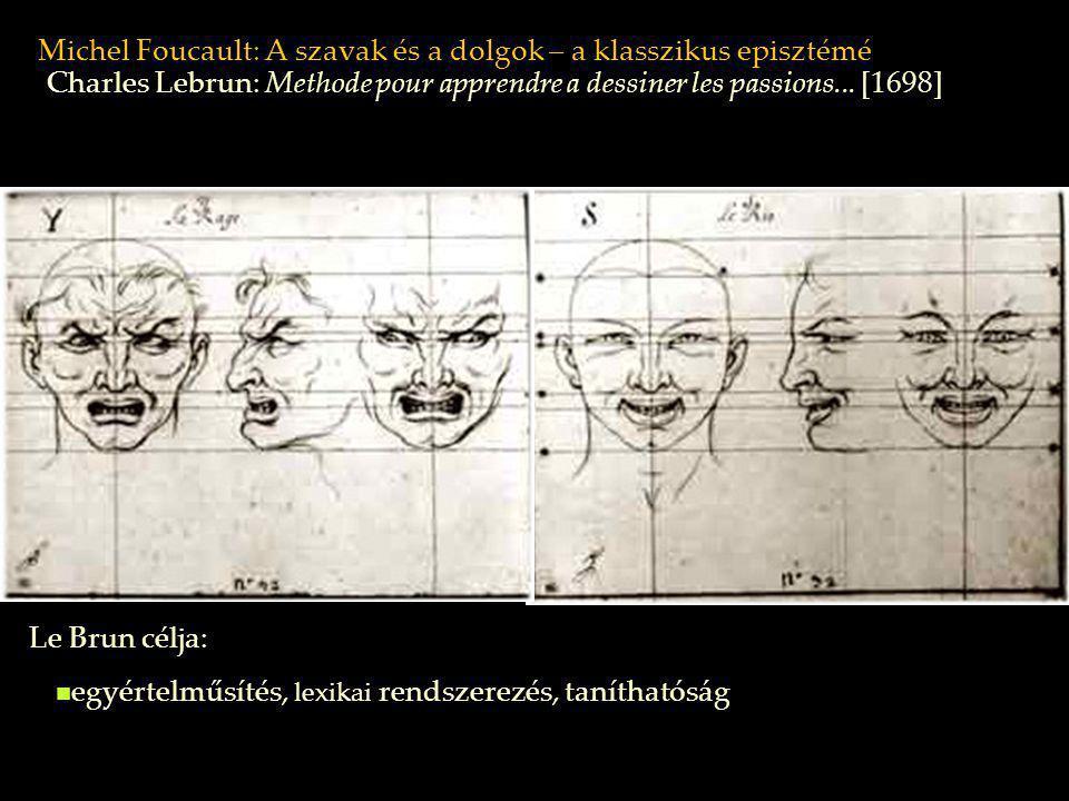 Michel Foucault: A szavak és a dolgok – a klasszikus episztémé Le Brun célja: Charles Lebrun: Methode pour apprendre a dessiner les passions... [1698]