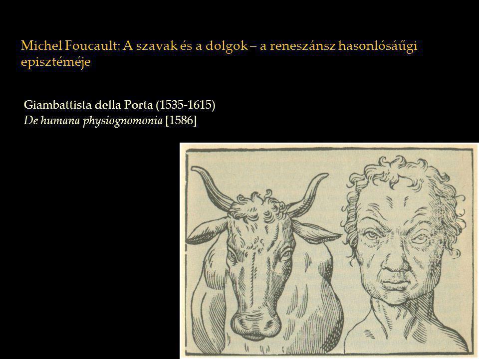 Michel Foucault: A szavak és a dolgok – a reneszánsz hasonlósági episztéméje Della Porta: De humana physiognomia látható hasonlóság durva természetdurva lélek szignatúra rejtett hasonlóság: convenientia convenienta