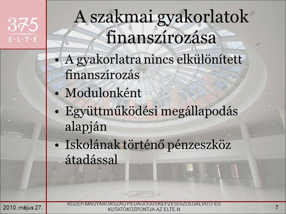 A szakmai gyakorlatok finanszírozása A gyakorlatra nincs elkülönített finanszírozás Modulonként Együttműködési megállapodás alapján Iskolának történő pénzeszköz átadással 2010.