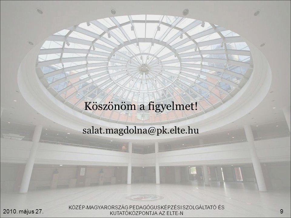Köszönöm a figyelmet. salat.magdolna@pk.elte.hu 2010.