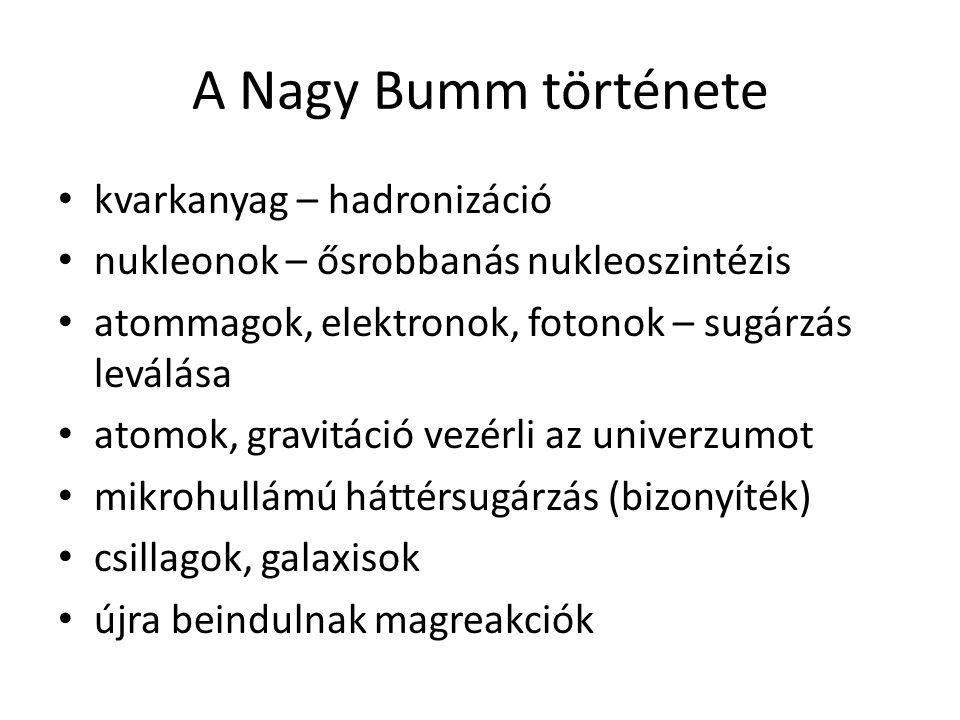 A Nagy Bumm története kvarkanyag – hadronizáció nukleonok – ősrobbanás nukleoszintézis atommagok, elektronok, fotonok – sugárzás leválása atomok, grav