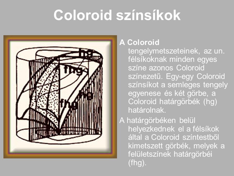 Coloroid színsíkok A Coloroid tengelymetszeteinek, az un. félsíkoknak minden egyes színe azonos Coloroid színezetű. Egy-egy Coloroid színsíkot a semle