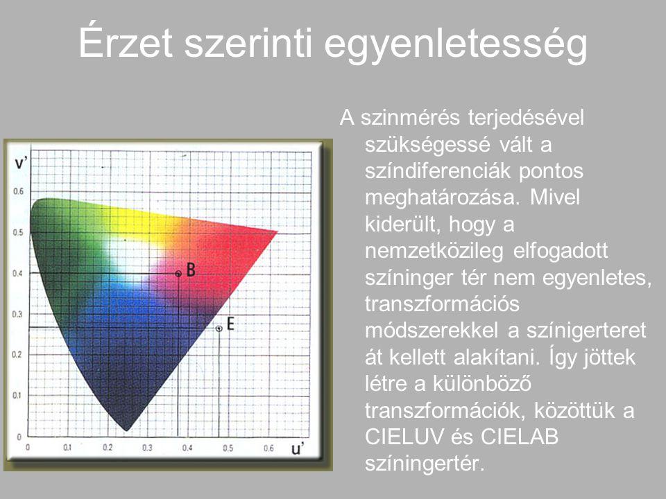 Esztétikai egyenletesség Az érzetszerint egyenletes színrendszerek adaptált szemre készültek, ezért az adaptálatlan szemű ember a sötét színek közötti különbségeket sokkal kisebbnek érzékeli, mint a világos színek közöttieket.