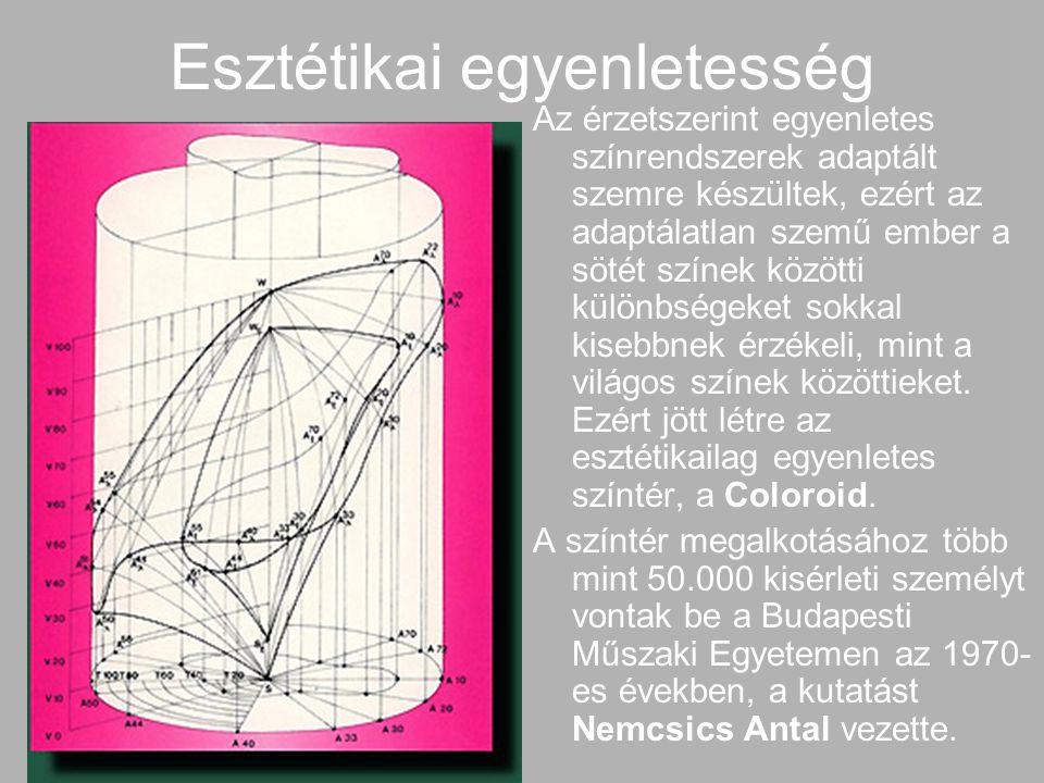 Esztétikai egyenletesség Az érzetszerint egyenletes színrendszerek adaptált szemre készültek, ezért az adaptálatlan szemű ember a sötét színek közötti