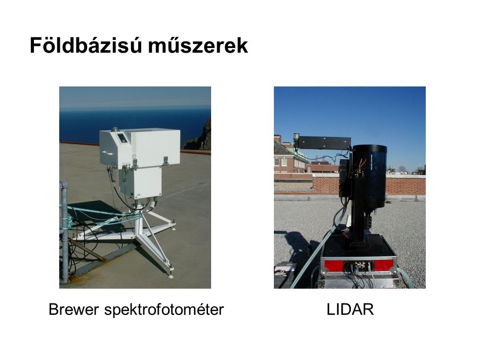 Földbázisú műszerek Brewer spektrofotométerLIDAR