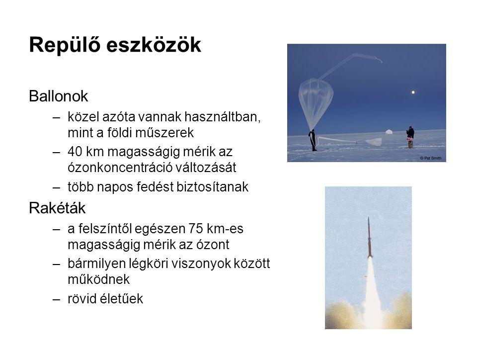 Repülő eszközök Ballonok –közel azóta vannak használtban, mint a földi műszerek –40 km magasságig mérik az ózonkoncentráció változását –több napos fedést biztosítanak Rakéták –a felszíntől egészen 75 km-es magasságig mérik az ózont –bármilyen légköri viszonyok között működnek –rövid életűek