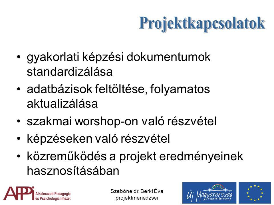 Szabóné dr. Berki Éva projektmenedzser gyakorlati képzési dokumentumok standardizálása adatbázisok feltöltése, folyamatos aktualizálása szakmai worsho