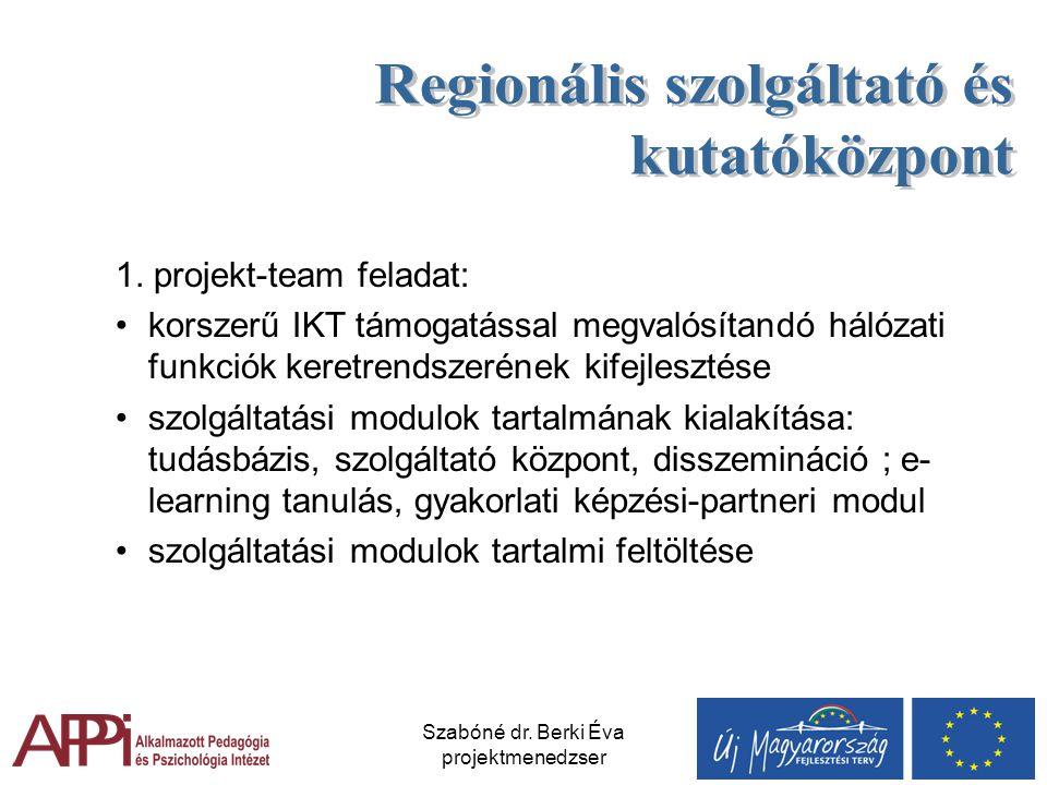 Szabóné dr. Berki Éva projektmenedzser 1. projekt-team feladat: korszerű IKT támogatással megvalósítandó hálózati funkciók keretrendszerének kifejlesz