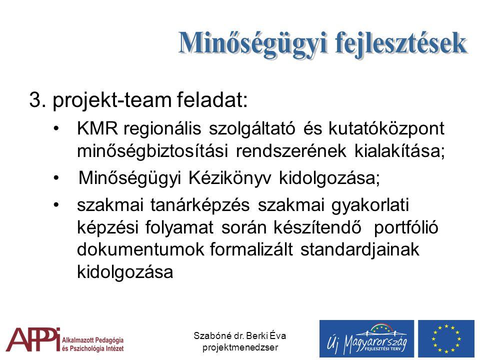 Szabóné dr. Berki Éva projektmenedzser 3. projekt-team feladat: KMR regionális szolgáltató és kutatóközpont minőségbiztosítási rendszerének kialakítás