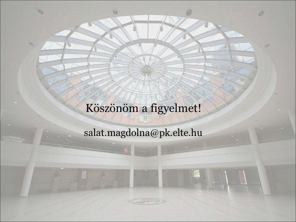 Köszönöm a figyelmet! salat.magdolna@pk.elte.hu