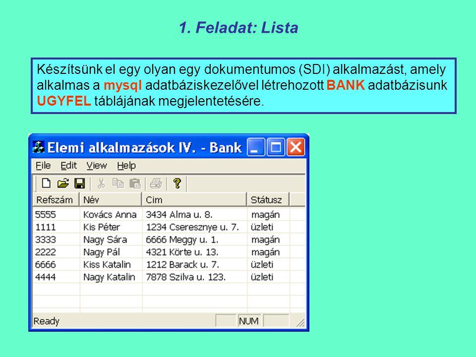 Készítsünk el egy olyan egy dokumentumos (SDI) alkalmazást, amely alkalmas a mysql adatbáziskezelővel létrehozott BANK adatbázisunk UGYFEL táblájának megjelentetésére.