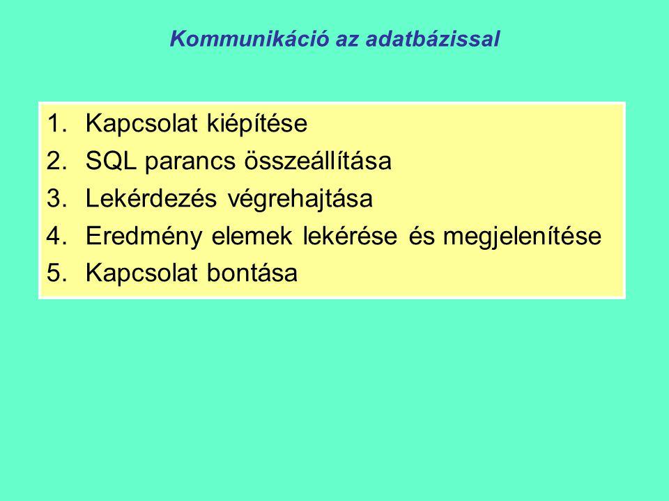 Kommunikáció az adatbázissal 1.Kapcsolat kiépítése 2.SQL parancs összeállítása 3.Lekérdezés végrehajtása 4.Eredmény elemek lekérése és megjelenítése 5.Kapcsolat bontása