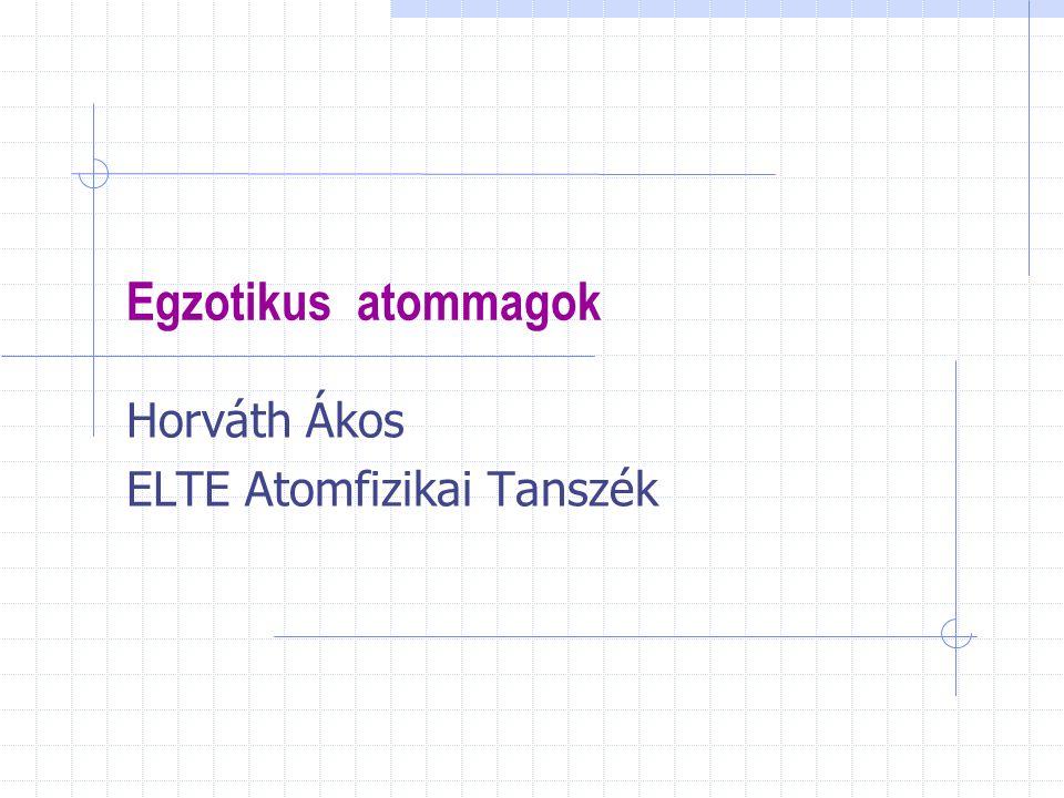Egzotikus atommagok Horváth Ákos ELTE Atomfizikai Tanszék