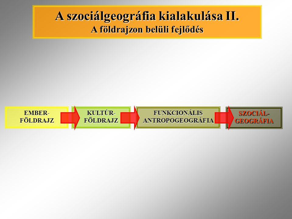 EMBER- FÖLDRAJZ KULTÚR- FÖLDRAJZ FUNKCIONÁLIS ANTROPOGEOGRÁFIA SZOCIÁL- GEOGRÁFIA A szociálgeográfia kialakulása II. A földrajzon belüli fejlődés