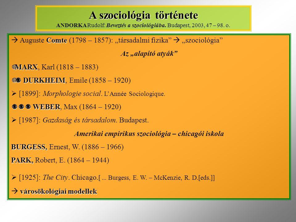 """Comte  Auguste Comte (1798 – 1857): """"társadalmi fizika  """"szociológia Az """"alapító atyák  MARX  MARX, Karl (1818 – 1883)  DURKHEIM  DURKHEIM, Emile (1858 – 1920)  [1899]: Morphologie social."""