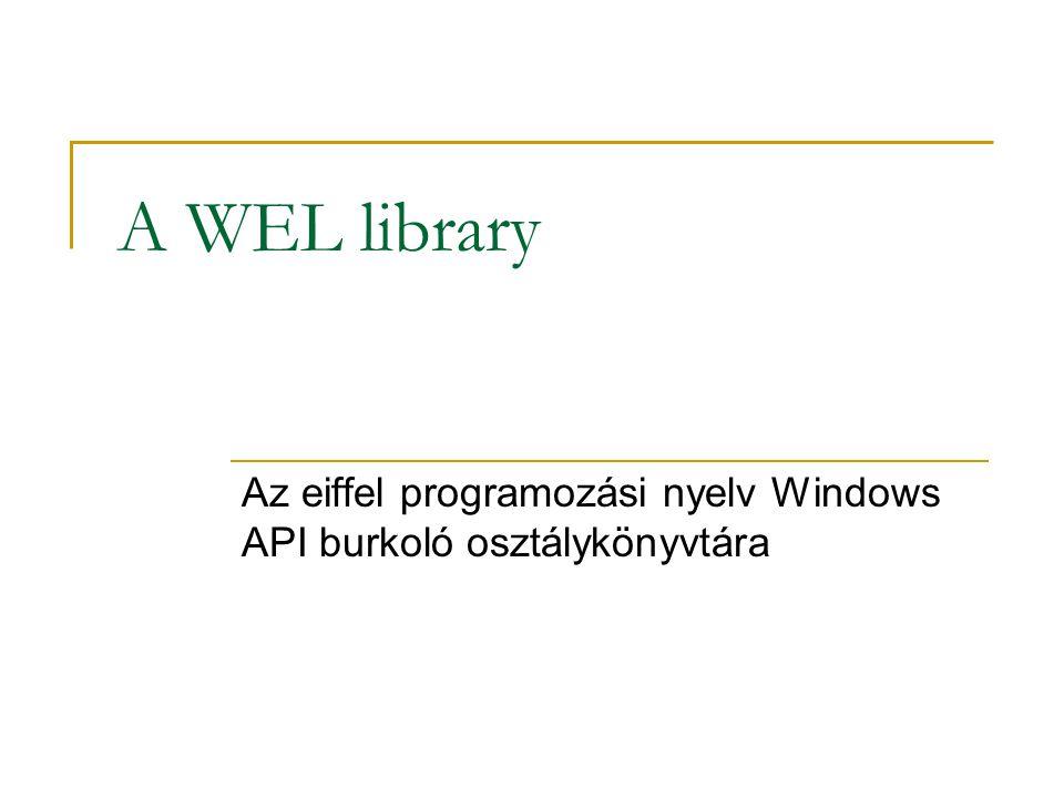 Vágólap kezelése A WEL_CLIPBOARD osztályból származtatva tudjuk kezelni a vágólapot.