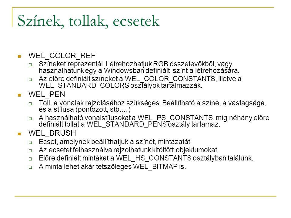 Színek, tollak, ecsetek WEL_COLOR_REF  Színeket reprezentál. Létrehozhatjuk RGB összetevőkből, vagy használhatunk egy a Windowsban definiált színt a