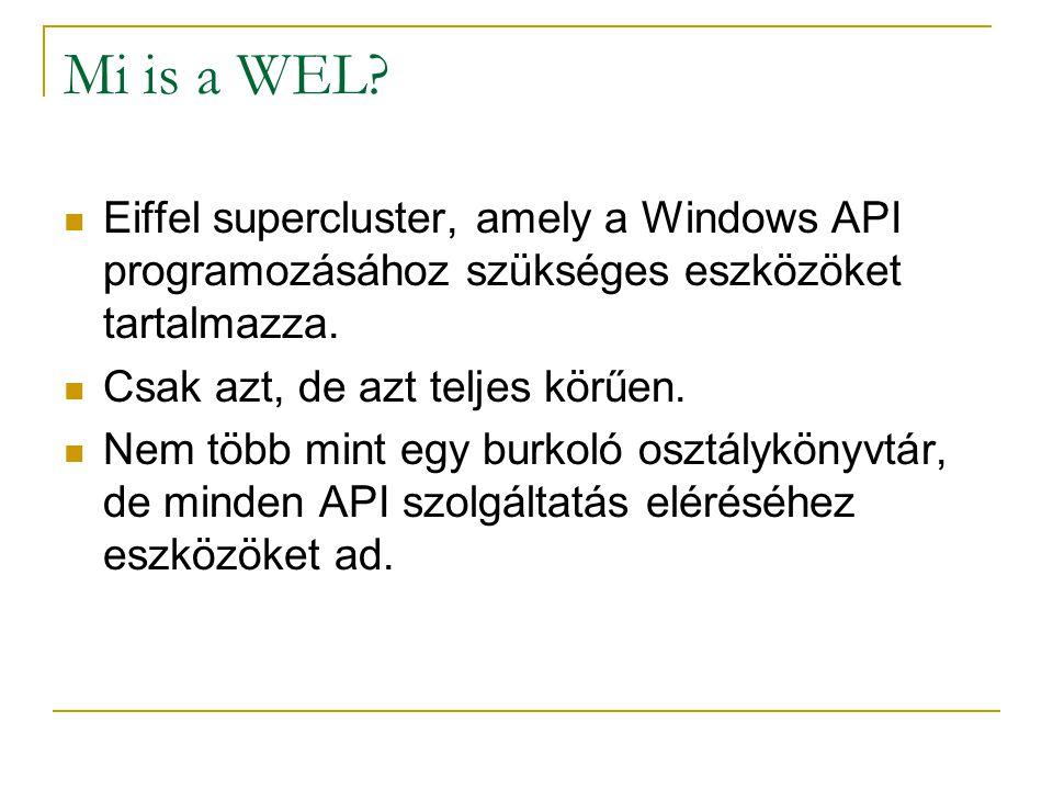 Mi is a WEL? Eiffel supercluster, amely a Windows API programozásához szükséges eszközöket tartalmazza. Csak azt, de azt teljes körűen. Nem több mint