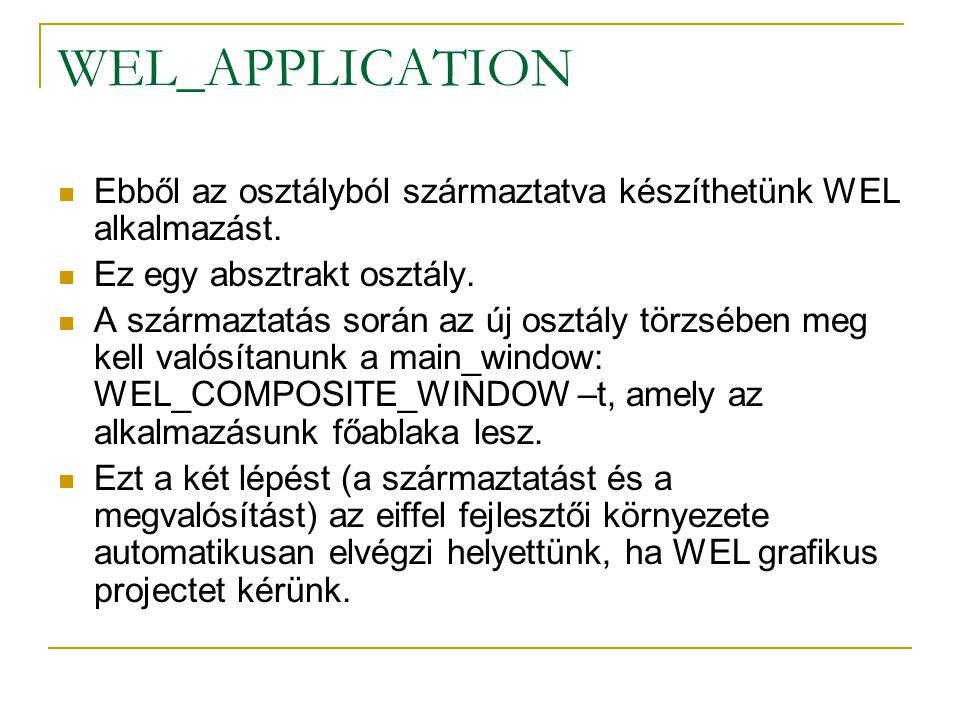 A legegyszerűbb WEL alkalmazás (minimal_demo.e) class MINIMAL_DEMO inherit WEL_APPLICATION rename make as base_make end create make feature make is do create main_window.make_top ( WEL minimal application ) base_make end