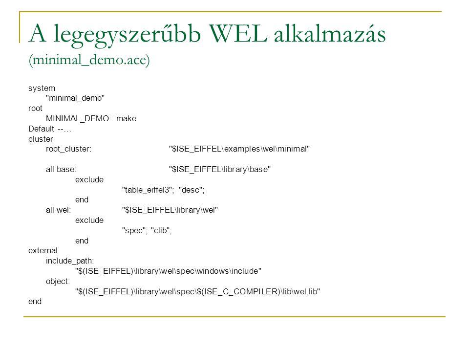 Registry kezelése inherit WEL_REGISTRY export {NONE} all end --… local key: WEL_REGISTRY_KEY p: POINTER value: WEL_REGISTRY_KEY_VALUE do key := enumerate_key(hkey_current_config,0) set_text(key.name) p:=create_key (hkey_current_config, my key ,0) p:=open_key (hkey_current_config, my key ,2) create value.make (1, alma ) set_key_value (p, my value ,value) end