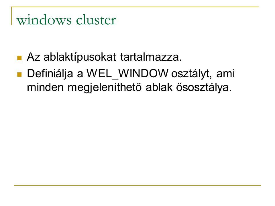 windows cluster Az ablaktípusokat tartalmazza. Definiálja a WEL_WINDOW osztályt, ami minden megjeleníthető ablak ősosztálya.