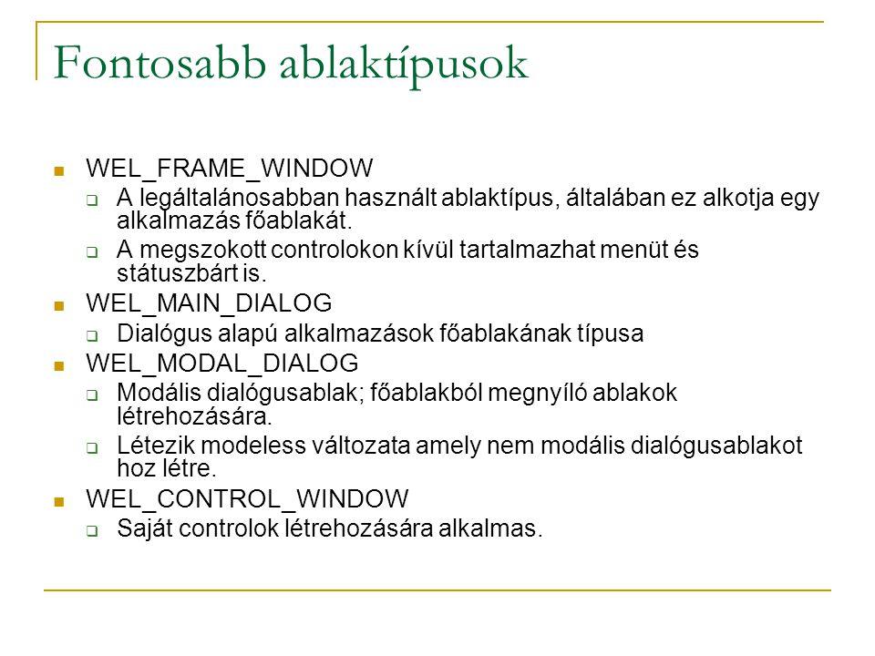 Fontosabb ablaktípusok WEL_FRAME_WINDOW  A legáltalánosabban használt ablaktípus, általában ez alkotja egy alkalmazás főablakát.  A megszokott contr