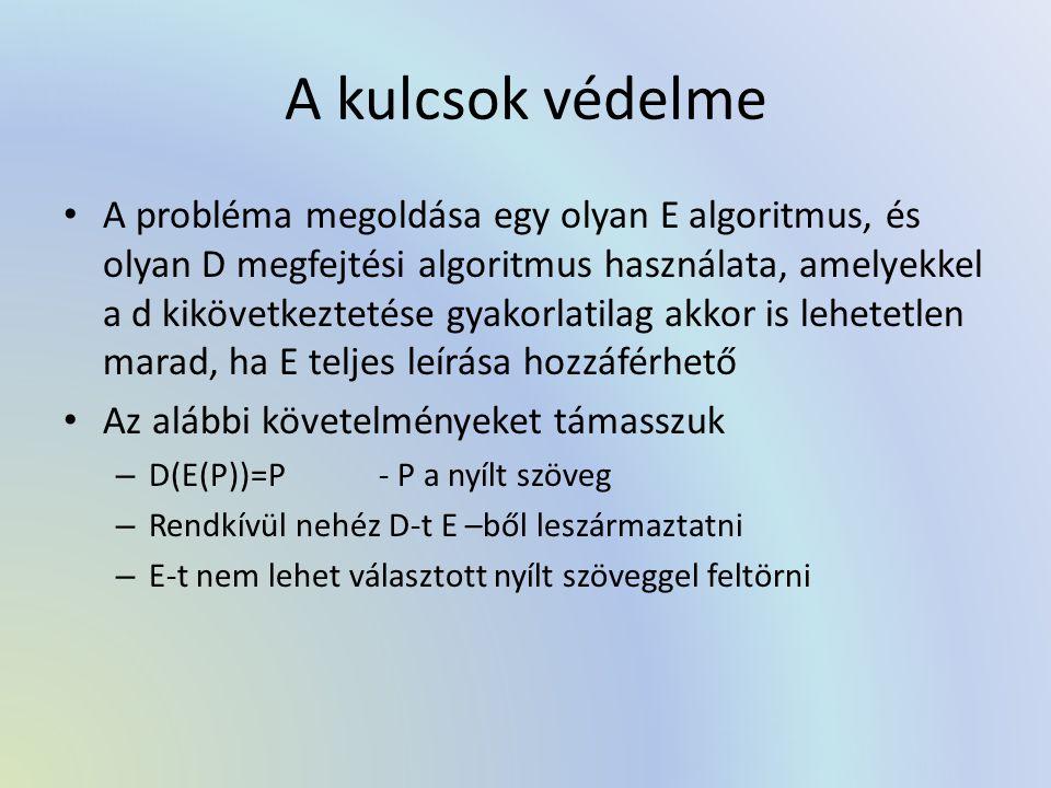A kulcsok védelme A probléma megoldása egy olyan E algoritmus, és olyan D megfejtési algoritmus használata, amelyekkel a d kikövetkeztetése gyakorlati