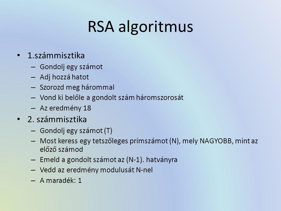RSA algoritmus 1.számmisztika – Gondolj egy számot – Adj hozzá hatot – Szorozd meg hárommal – Vond ki belőle a gondolt szám háromszorosát – Az eredmény 18 2.