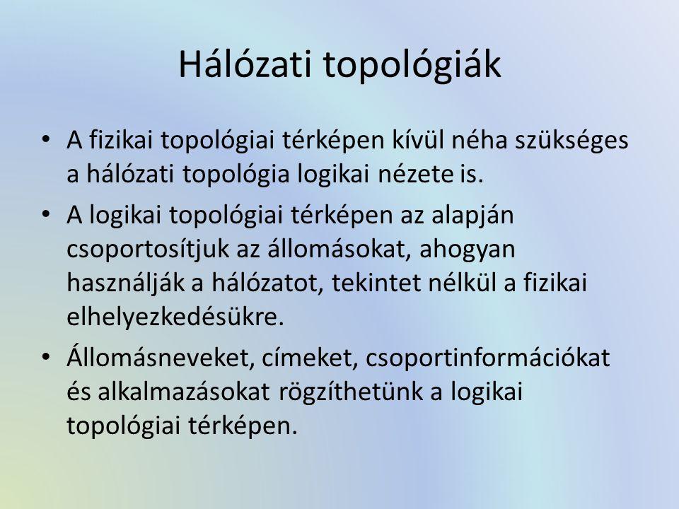 Hálózati topológiák A fizikai topológiai térképen kívül néha szükséges a hálózati topológia logikai nézete is.
