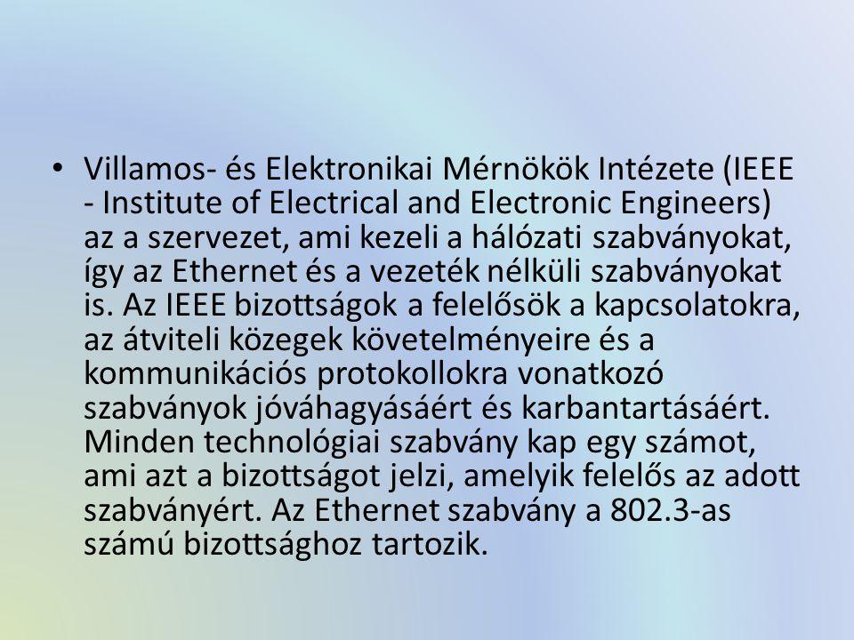 Villamos- és Elektronikai Mérnökök Intézete (IEEE - Institute of Electrical and Electronic Engineers) az a szervezet, ami kezeli a hálózati szabványokat, így az Ethernet és a vezeték nélküli szabványokat is.