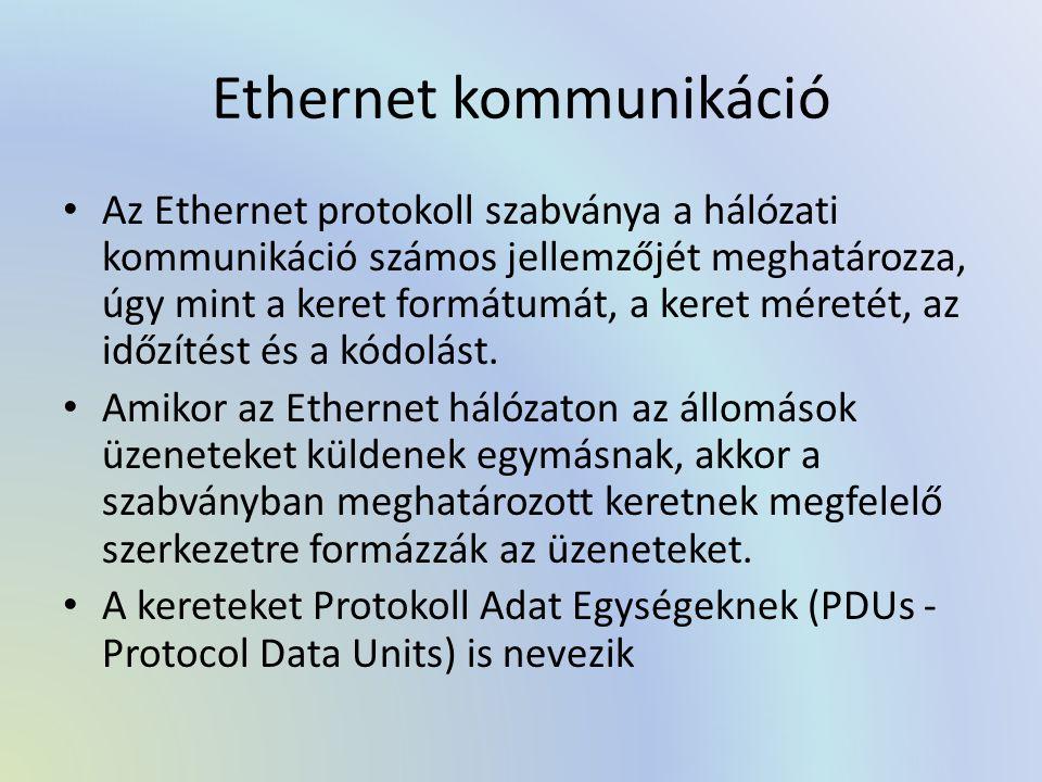 Ethernet kommunikáció Az Ethernet protokoll szabványa a hálózati kommunikáció számos jellemzőjét meghatározza, úgy mint a keret formátumát, a keret mé