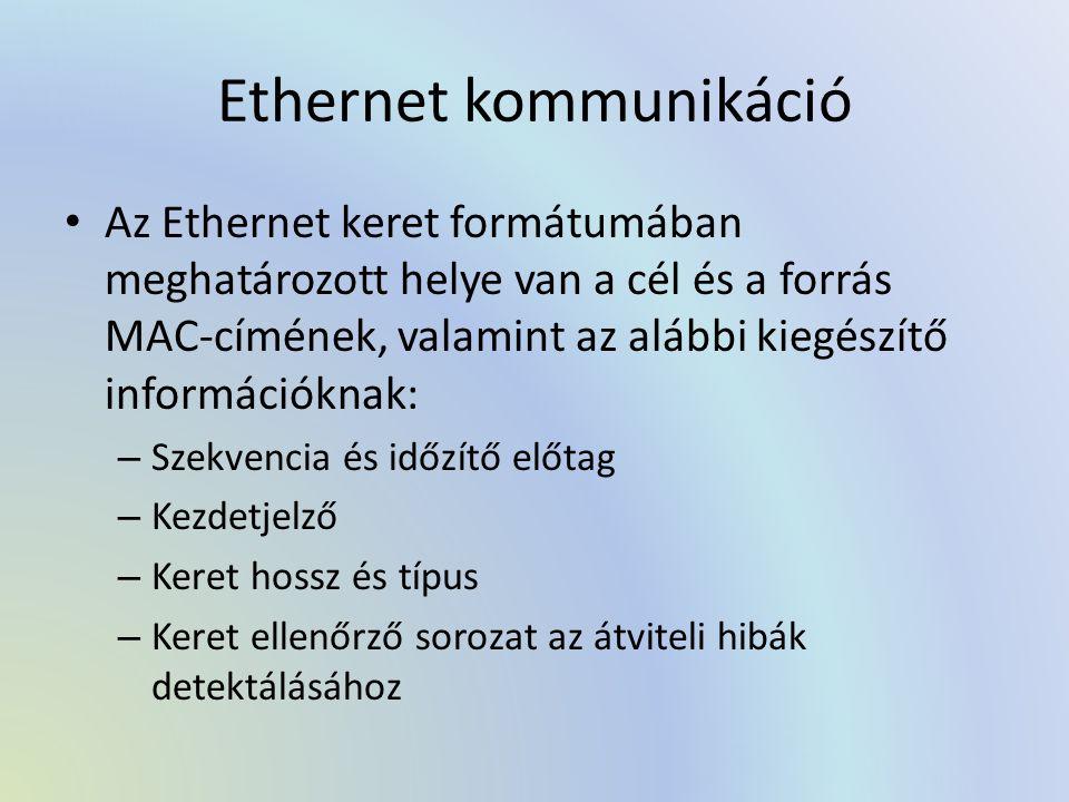 Ethernet kommunikáció Az Ethernet keret formátumában meghatározott helye van a cél és a forrás MAC-címének, valamint az alábbi kiegészítő információknak: – Szekvencia és időzítő előtag – Kezdetjelző – Keret hossz és típus – Keret ellenőrző sorozat az átviteli hibák detektálásához