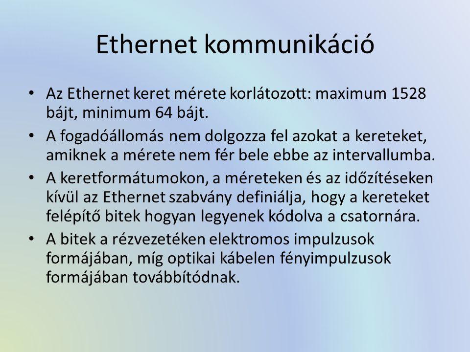 Ethernet kommunikáció Az Ethernet keret mérete korlátozott: maximum 1528 bájt, minimum 64 bájt. A fogadóállomás nem dolgozza fel azokat a kereteket, a